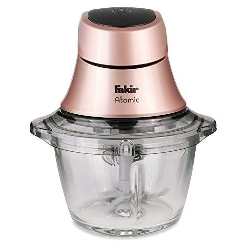 Fakir Atomic/Multi-Zerkleinerer, Universal-Schneider, elektrisch, Edelstahl-Messer, 1 Liter Glasbehälter, (Gemüse, Nüsse, Fleisch, Obst), rutschfest - 600 Watt (rosé)