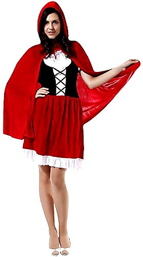 KIRALOVE Costume Cappuccetto Rosso - Velluto - Travestimenti Donna - Halloween - Carnevale - Colore Rosso - Adulti - Ragazza - Taglia Unica - Idea Regalo Originale