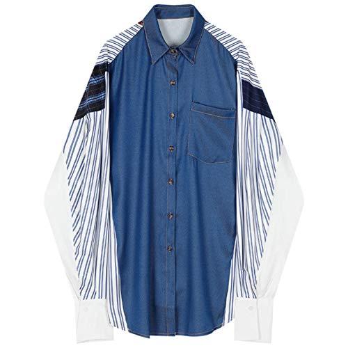 Falsa blusa de patchwork de 2 piezas para mujer camisas de cuello de vuelta - - Talla unica
