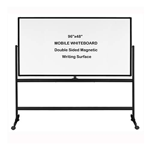 """INNOVART Mobile Whiteboard 96"""" x 48"""", 360° Reversible Double Sided Magnetic Dry Erase Board with Portable Rolling Stand on Wheels, Easel Standing Board with Black Aluminum Frame"""