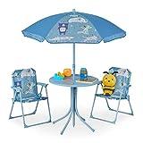 Relaxdays Camping Kindersitzgruppe, Kindersitzgarnitur mit Sonnenschirm, Klappstühle & Tisch, Motiv Tiere, Garten, blau