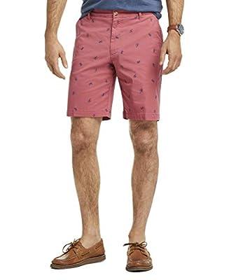 "IZOD Men's Stretch 9.5"" Chino Printed Shorts, Saltwater Red, 33 by IZOD"