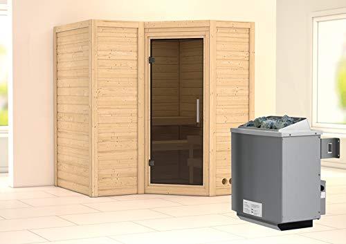 Preisvergleich Produktbild Karibu Sauna Sahib 1 inkl. 9-kW-Ofen mit interner Steuerung,  ohne Dachkranz,  mit moderner Saunatür