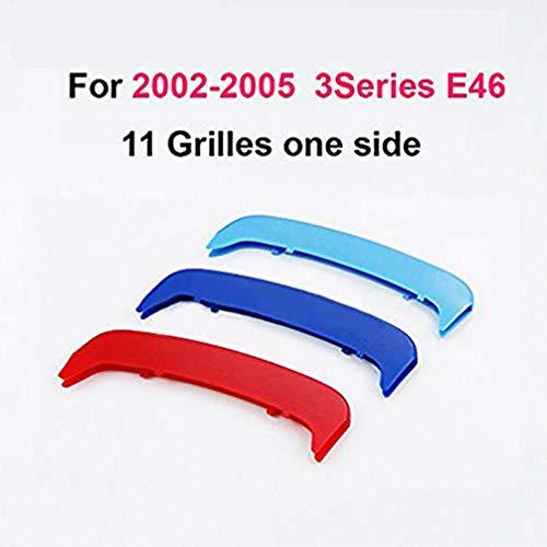 Para B M W 3 Series E46 318i 320i 325i 330i 335i 2002-2005 (11 Rejilla) 3D Coche Rejillas Frontales Embellecedor Parrilla Delantera Cubierta Pegatinas 3 Piezas