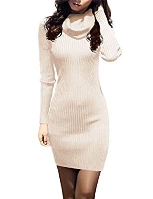 v28 Women Cowl Neck Knit Stretchable Elasticity Long Sleeve Slim Fit Sweater Dress