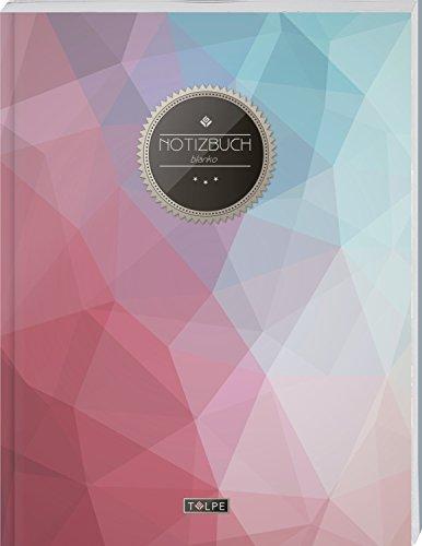 """TULPE Blanko Notizbuch A4 """"C064 Pastell Polygon"""" (140+ Seiten, Vintage Softcover, Seitenzahlen, Register, Weißes Papier - Dickes Notizheft, Skizzenbuch, Zeichenbuch, Blankobuch, Sketchbook)"""