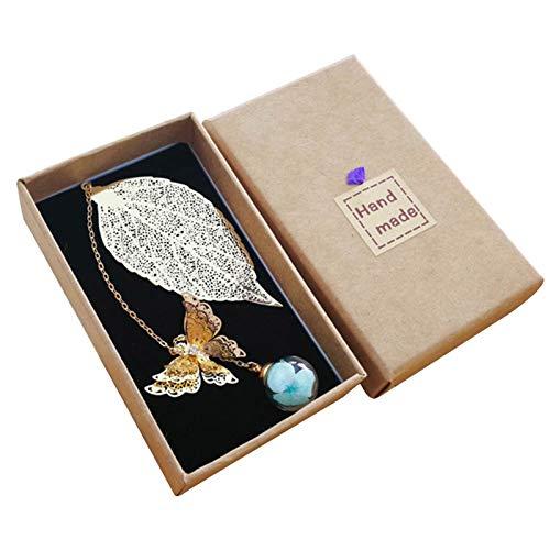 Saicowordist Marcapáginas de hoja, hoja de metal 3D mariposa y cuentas de cristal con colgante de flor secada vintage es adecuado para lectores (azul)