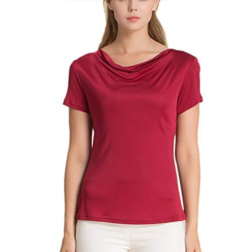 E-girl Einfarbig Damen Seiden Bluse Seidentop Große Größen Freies Halsband Ohne Arm Seiden Top,HS1190,Rot,XL