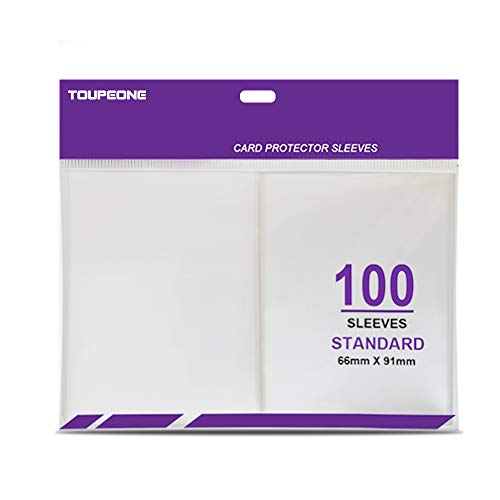 Toupeone 100 Count Premium Card Sleeves Clear Plastic Trading Card Sleeves for Standard Size Magic The Gathering MTG, Pokemon, Baseball, Dropmix, Board Games