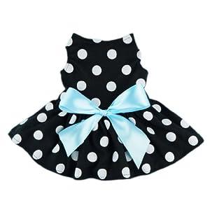 Fitwarm Cute Polka Dot Ribbon Dog Dress Dog Clothes Cozy Dog Shirt Pet Dress