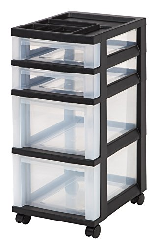 IRIS 4-Drawer Rolling Storage Cart with Organizer Top, Black