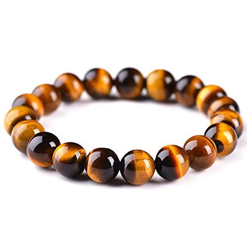 Pulsera de piedra natural con cuentas de ojo de tigre, pulsera de cuentas para hombre, joyería hecha a mano para hombres y mujeres