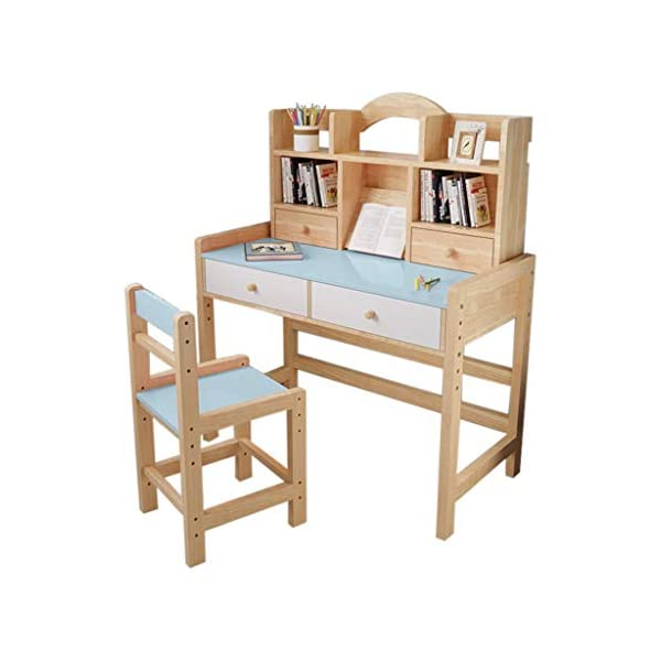 Kids Desk and Chair Set, Adjustable Height Kids Wooden Study Desk with Drawers and...