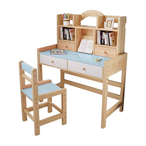 Kids Desk and Chair Set, Adjustable Height Kids Wooden Study Desk with Drawers and Bookshelves, Lovely Furniture for Reading, Writing &Drawing,Study Table for Girls Boys