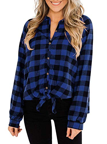 PINKMSTYLE Women's Tie Front Long Sleeve Collared Button Down Plaid Shirt Blue Small
