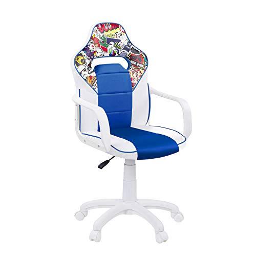 DRW, Silla Gamer, Silla de Oficina Gaming Estudio o Escritorio, Acabado en Símil Piel Blanco - Azul y Sticker, Medidas: 60 cm (Ancho) x 60 cm (Fondo) x 98-108 cm (Alto)
