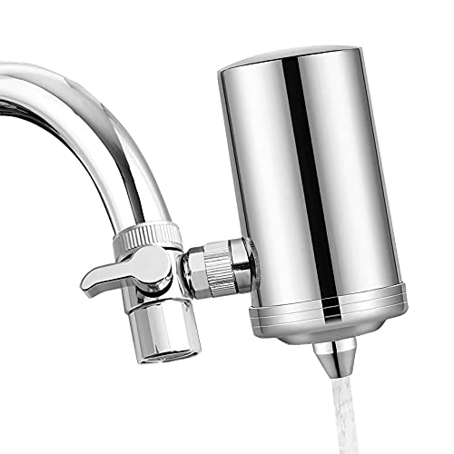 1200-Gallon Water Faucet Filtration System, Nano ACF Faucet Water Filter, 2.2GPM High Flow Stainless Steel Tap Water Filter, Removes Chlorine, Heavy Metals, Sediments, Bad Taste and More, by Hansing