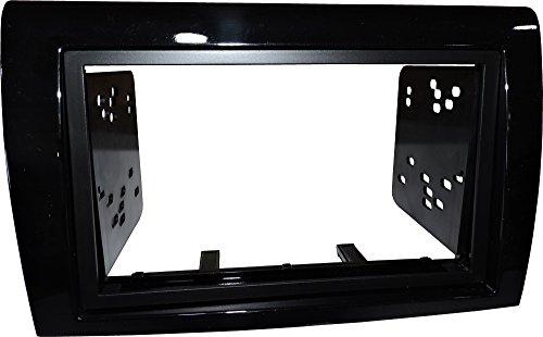Mascherina autoradio 2 DIN Kit installazione completo di staffe colore Nero lucido