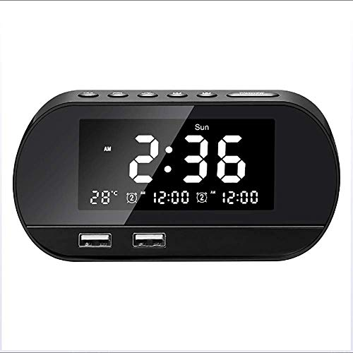 FM-Radio, Bed Wekkerradio Met 3,2 Inch Dimbare LCD Mirror Screen Snooze Functie En Dual USB Charge-Poort Voor Kids Bedroom Outdoor,Black