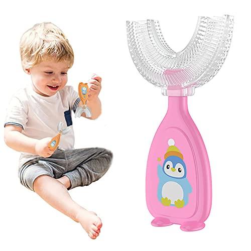 Cepillo de Dientes Manual en Forma de U,diseño de Limpieza bucal de 360 °,Cepillo de Dientes Tipo U,cepillos de Dientes portátiles para niños Herramientas de Limpieza bucal (2-6 Years Old,Pink)