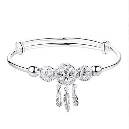 XXX Pulsera para mujer, chapada en plata, joyería redonda con borla de cuentas, regalo para ella