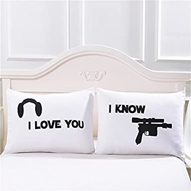 "Couples Pillow Cases, ""I Love You""&""I Know"" Couple Pillow Covers, Romantic Gift Idea for Couples, Anniversary, Wedding, Engagement, Set of 2 Printed Pillowcases for Him and Her in Love, 30x20inches"