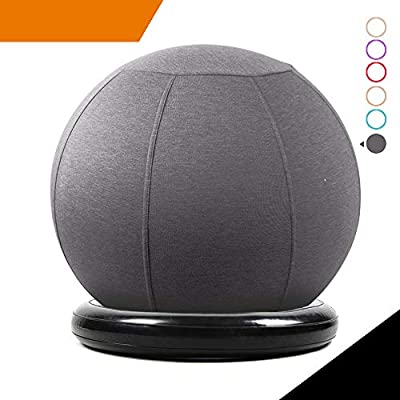 Sport Shiny Balance Ball Chair Pro,Flexible Seating Set,Stability Yoga Ball with Machine Washable Slipcover,Ring Base Kit,Ergonomic Exercise Ball Chair,65cm Size,Grey,Quick Air Pump Included