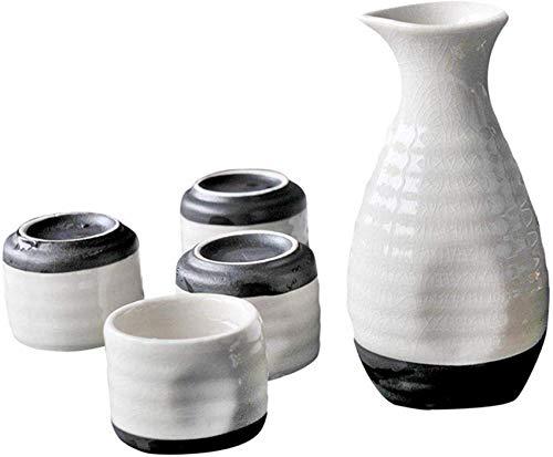 rzoizwko Juego de Sake Elegante, Juego de Tazas de Sake de cerámica esmaltada con Grietas de Hielo Blanco de 5 Piezas, para frío/Caliente/Shochu/té