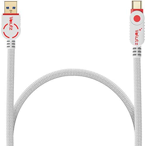 Usb C Volutz en cable usb 3.0, carga rápida y sincronización rápida, funda de nylon, compatible con dispositivos USB C como Galaxy S20 / S10 / A51 / S8, Huawei P30 y Apple iPad 1m blanco-rojo
