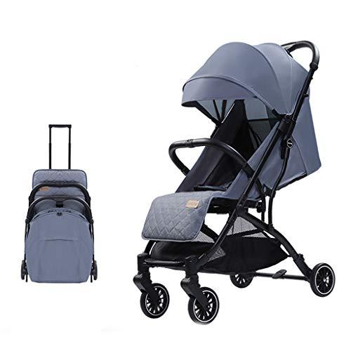JINGQI Alta Vista de Viaje Cochecito 2 en 1 aleación de Aluminio del Cochecito de bebé portátil Sentado y acostado Carro de bebé del Cochecito Plegable del Cochecito de bebé,Gris