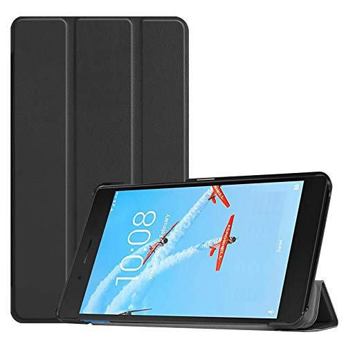 Lobwerk Hülle für Lenovo Tab E7 TB-7104F 7 Zoll Smart Cover Etui mit Standfunktion & Auto Sleep/Wake Funktion Schwarz