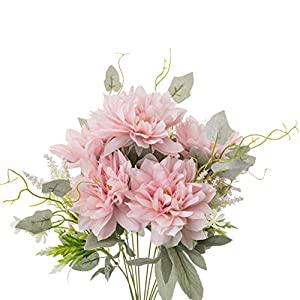 Yongyue Springs Flowers Artificial Silk Dahlia Bouquets Wedding Home Decoration (Spring Deep Pink)