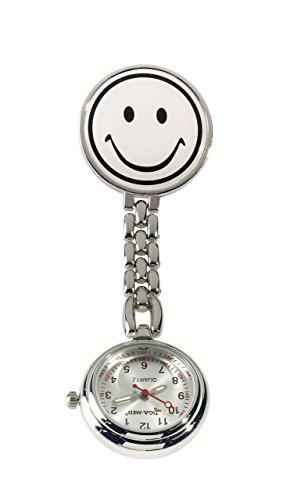 Ansteckuhr, Pulsuhr, Schwesternuhr, Uhr mit Sekundenzeiger (weiß)