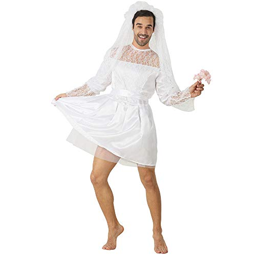 Funny Male White Bride Costume Men's Wedding Dress Novelty Fancy Dress Stag Do Hen Night Party Outift (One Size, White)