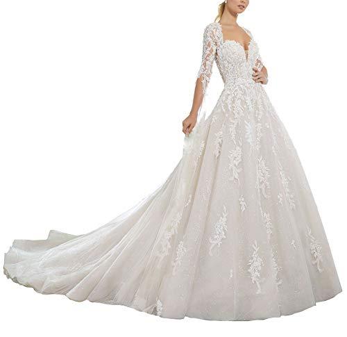 TANPAUL Brautkleid Spitze A-Linie Langarm Herzausschnitt Rückenfrei Hochzeitskleid Ballkleid Prinzessin Lang mit Schleppe Brautmode Abendkleid Festkleid Spitzenkleid Weiß