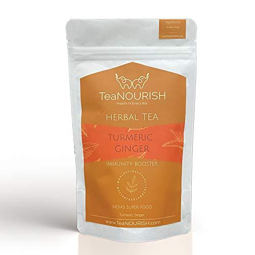 TeaNOURISH Turmeric Ginger Herbal Tea Immunity Booster   Loose Leaf Tea   100% NATURAL INGREDIENTS (100gm)