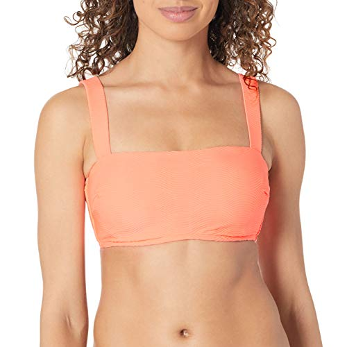 Seafolly Women's DD Cup Bandeau Bikini Swimsuit Top with Shoulder Straps, Capri Sea Fluorescent Melon, 4 US