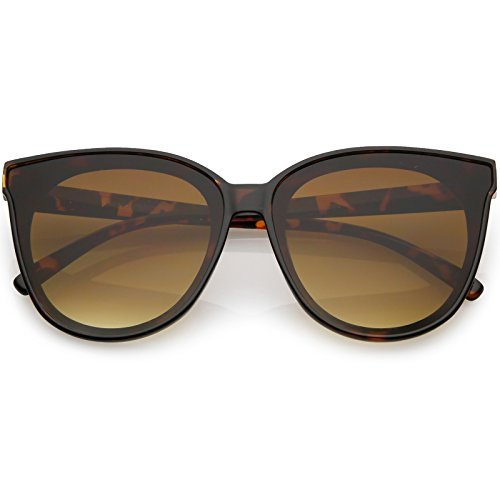 zeroUV - Oversize Neutral Color Flat Lens Cat Eye Sunglasses 60mm (Tortoise/Amber)