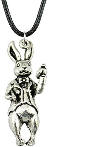 Liuqingzhou Co.,ltd Collares Chai de Cuero para Collar de Conejo 3D 36X15Mm Color Plata Antigua Joyería Vintage