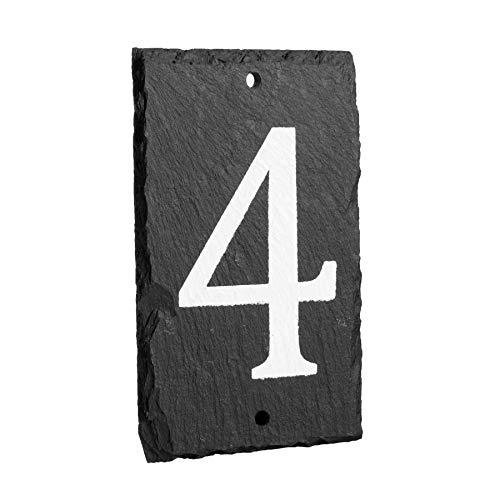 número del inmueble/de casa de pizarra natural sólido incluyendo fijaciones - número 4
