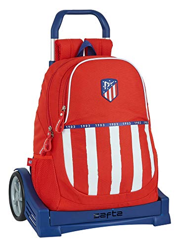 Safta 612058860 Mochila con carro ruedas Evolution, Trolley Atlético de Madrid