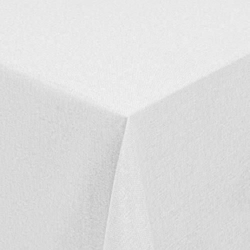 Leinen Optik Tischdecke Tischtuch Tafeldecke Leinendecke Abwaschbar Wasserabweisend Eckig 130 x 220 cm Weiss Fleckschutz Pflegeleicht mit Saumrand Leinentuch