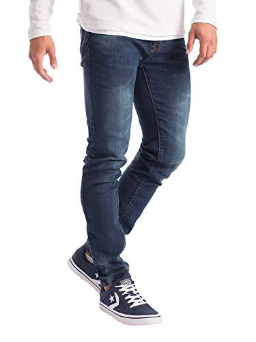 Mens Slim Fit Jeans Super Stretch Denim Pants Slim Skinny Casual Designer Jeans (38 Waist x 30 Length, Indigo Wash)