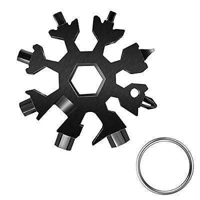 Snowflake Multitool, 18-in-1 Stainless Steel Snowflake Standard Multi-Tool, Snowflake Wrench with Key Ring (Black)