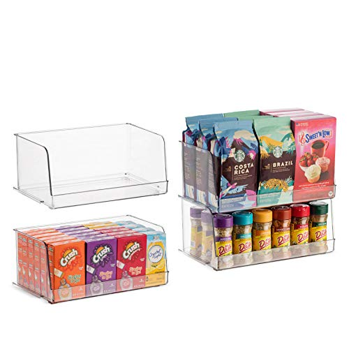 Set Of 4 Clear Pantry Organizer Bins Stackable Household Plastic Food Storage Basket with Wide Open Front for Kitchen Countertops Cabinets Refrigerator Freezer Bedrooms Bathrooms - 12 Wide