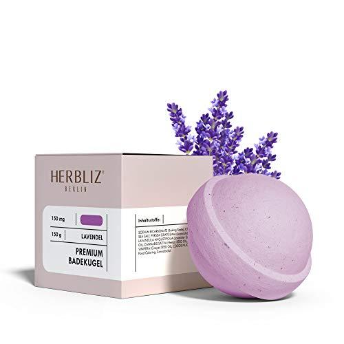 HERBLIZ Badebombe Lavendel mit 150mg CBD | Badekugeln Badeset | Entspannungsbad Basenbad Badezusatz | Perfektes Wellness Geschenke Set für Frauen | Badeperlen Badepralinen Bath Bomb Badeschaum | Baden
