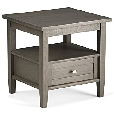 Simpli Home Warm Shaker Solid Wood End Side Table, Farmhouse Grey