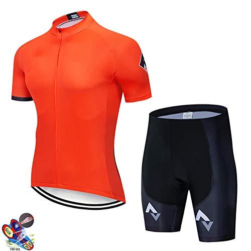 Zcbm Traje Ciclismo Hombre para Verano Ciclismo Jersey De Manga Corta Pantalones Cortos con 9D Gel Pad para Deportes Al Aire Libre Ropa Deportiva,C,XXL