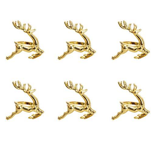 Cobeky Serviette Ringe, 6 Stueck Gold Elch Chic Serviette Ringe Fuer Gedecke, Hochzeits Empfange, Weihnachten, Erntedankfest und Haus Kuechen Esstisch Zubehor