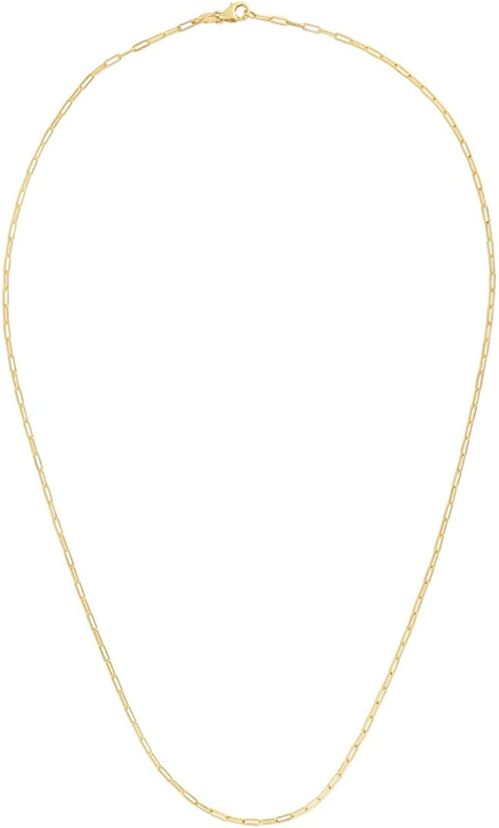MCS Jewelry 14k Yellow Gold Paperclip Link Chain Necklace 1.5 mm (18